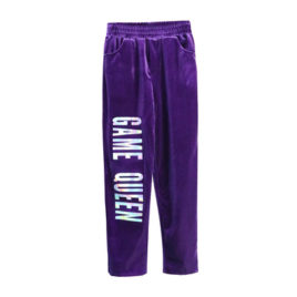 Штаны бархат «Game Queen» фиолетовые