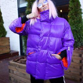 Пуховик Фиолетовый с оранжевым
