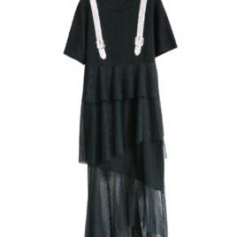 Платье черное с лямками из страз