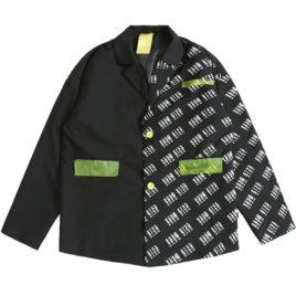 Пиджак половинка с надписями и неоновыми карманами