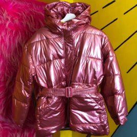 Куртка металлик «Розовая» удлиненная с поясом