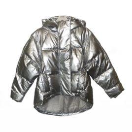 Куртка дутая металлик серебро