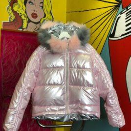 Куртка «Пудра»» металлик с мехом укороченная