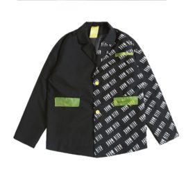 Пиджак половинка с надписями и неон карманами