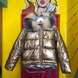 Куртка «Золото» металлик с мехом укороченная