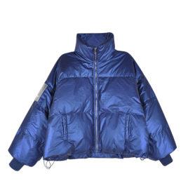 Куртка дутая с нашивкой на рукаве синяя