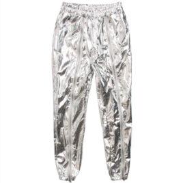 Штаны металлик серебро