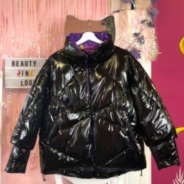 Куртка лаковая дутая Черная