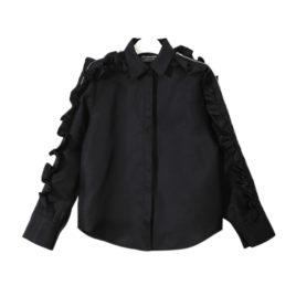 Рубашка с воланами и замком черная