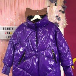 Куртка лаковая дутая Фиолетовая