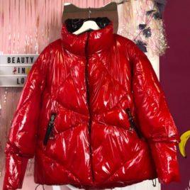 Куртка лаковая дутая Красная