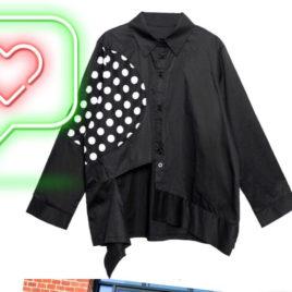 Рубашка черная со вставкой горох