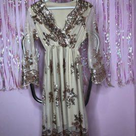 Платье из сетки с пайетками бежевое