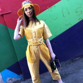 Комбинезон желтый с сеткой