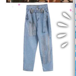 джинсы голубые с надписями из страз