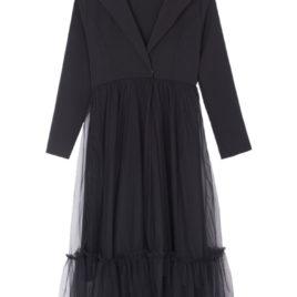Платье-Жакет черный с сеткой и поясом