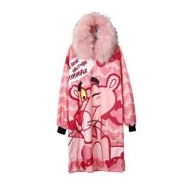 Платье теплое с мехом розовое с Мартином
