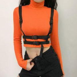 Топ с портупеей оранжевый