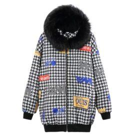 Куртка -Бомбер принт «Гусиная лапка»
